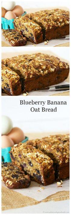 Blueberry Banana Oat Bread is a healthy breakfast or snack!  Mmmm, hmmmm… it's SO delicious