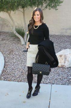 Black ankle booties, tweed skirt, black sweater, tights