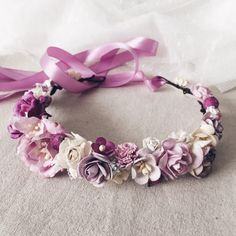 Floral crown Purple flower crown Boho headpiece Floral by SERENlTY