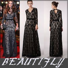 kate middleton dupe dress - ebay - Black lace long sleeve evening gown wedding prom Bridesmaids' & Formal Dresses
