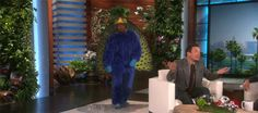 When Jimmy Fallon was scared by this peacock. | 26 Times Ellen DeGeneres Scared The Crap Out Of Famous People