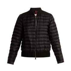 Moncler Barytine quilted down bomber jacket ($860) ❤ liked on Polyvore featuring outerwear, jackets, black, feather shrug, slim bomber jacket, slim fit bomber jacket, slim fit jacket and shell jacket
