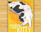 Cat Magnet - Heater Vent Kitty - Cat Gifts Refrigerator Fridge Magnets