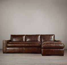 Maxwell Leather Right-Arm Sofa Chaise Sectional, Restoration Hardware, 20% friends and family