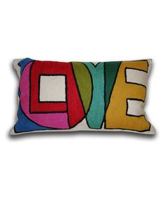 Love this, the color, the shape the sentiment! Take a look at this Graphic 'Love' Throw Pillow by THRO on #zulily today!