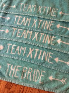 Custom beach towels for Palm Springs Bachelorette party, DIY with bleach pen!