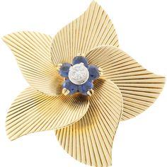 Tiffany &  Co Round Sapphire Diamond 18 Karat Yellow Gold Open Flower Pin