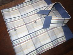 Men's Plaid Shirt, Blue and White Shirt, One of a kind, Tailored Shirt, by africanbaskets on Etsy