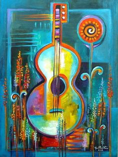 Abstract Modern Painting Original Acrylic on canvas Music Flowers And Love Marlina Vera Fine Art Gallery Contemporary Collage texture Más Music Painting, Painting Collage, Oil Painting Abstract, Abstract Canvas, Guitar Painting, Art Pop, Modern Canvas Art, Modern Art, Art Amour