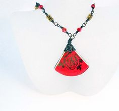 Vintage Ceramic Shard Necklace Wire Wrapped Red by Readesign,
