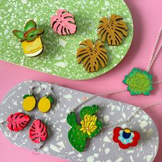 Colourful Cactus Flowers Laser Cut Jewelry, Free Website, Cactus, Handmade Jewelry, Jewellery, Flowers, Fun, Color, Jewels
