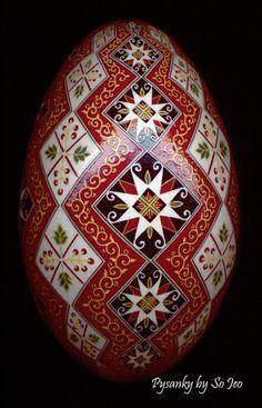 Made To Order: Stacking Diamonds Pysanka Batik Egg Art EBSQ Plus. $150.00, via Etsy.