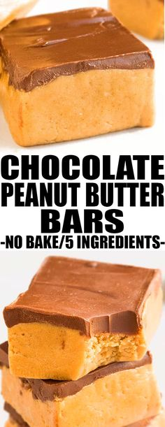 This quick and easy no bake PEANUT BUTTER BARS recipe is made with 5 simple ingredients. These chocolate peanut butter bars or lunch lady bars are rich and fudgy and great as a healthy snack or dessert Best Dessert Recipes, Easy Desserts, Sweet Recipes, Cookie Recipes, Delicious Desserts, Yummy Food, Recipes Dinner, Healthy Recipes, Bar Recipes