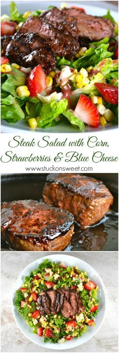 Steak Salad with corn, strawberries and blue cheese | www.stuckonsweet.com via Wisconsin Beef Council #WI #Beef