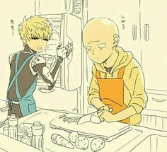Genos, apron, Saitama, vegetables, kitchen, funny, text; One Punch Man