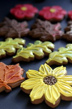 autumn sunflower and leaf iced biscuits from JulietStallwoodCakesandBiscuits