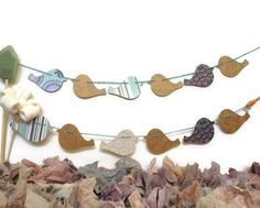 Bird Garland Paper Garland Whimsical Home Decor by LiLaxO