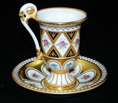 Dresden Cup Saucer 24KT Gold Gilded Jeweled