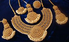 Indian CZ Kundan Diamantes Pearl Polki Gold Wedding Bridal Necklace Earrings Set