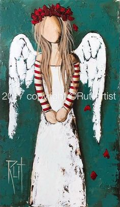 Show details for ©RUTART: Canvas Print: Red stripe sleeves Christmas Angels, Christmas Art, Canvas Art Prints, Canvas Wall Art, Angel Pictures, Angel Art, Stone Painting, Rock Art, Art Projects