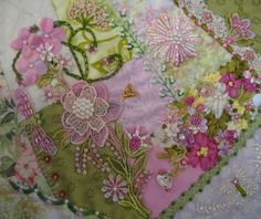 I ❤ crazy quilting . . . For this years CQJP (Crazy Quilt Journal Porject), I decided to not go for a specific theme but rather change it up a bit and create a different color combination each month.  For the month of April I decided on pink and green.  Funny how the older you get you start to change your likes and dislikes - this color combination is starting to become one of my favorites.