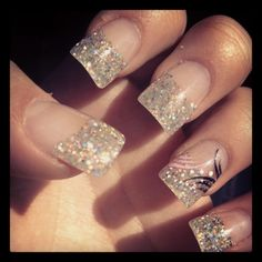 Prom nails tips of glitter except the ring fingers I'd want all glitter!
