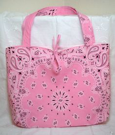 Country Western Pink Bandana Shoulder Tote Bag by jayciMay on Etsy, $18.00