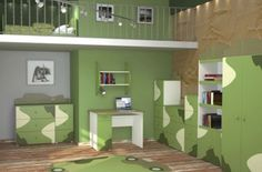 Teenage Girls Bedroom Decorating Trends With Green Themes - Army Theme