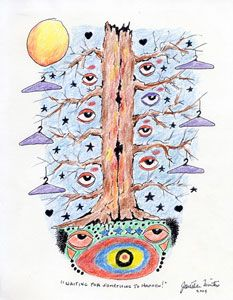 Waiting for Something to Happen, ink and colored pencil, by Jonathan Winters