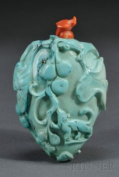 suchasensualdestroyer:  China, Snuff Bottle, coral/turquoise, c. 19th c.