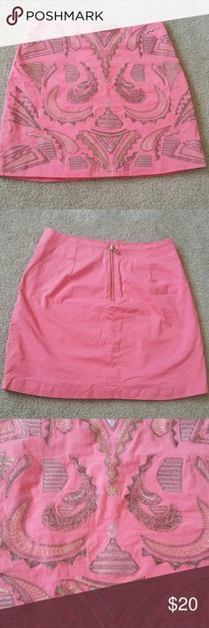 Coral Blue Rain Francesca's Almena Skirt S Like New, worn once. Beautiful hard to find embroidered almena skirt with golden back zipper. Francesca's Collections Skirts Mini