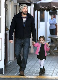 Ben Affleck looking stylish while walking the streets with his daughter.
