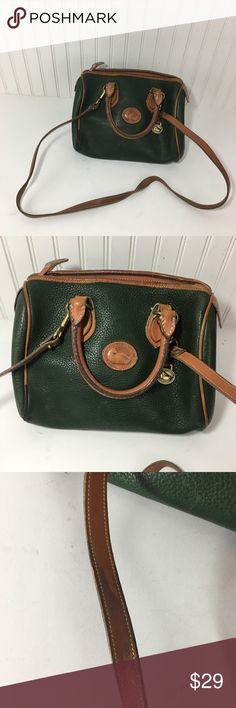 """VINTAGE DOONEY BOURKE DARK GREEN LEATHER  SATCHEL Genuine vintage Dooney & Burke leather purse. This purse has multiple signs of wear. The piping has wore out at the bottom edges there are stains inside and water stains on the shoulder strap. With some love this purse can be restored.  Approximate measurements flat across  Length: 10"""" Width: 6"""" Height: 6""""  Strap drop: 4""""  Shoulder strap: 48"""" Dooney & Bourke Bags Satchels"""