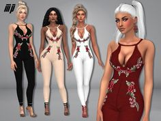 MP Floral Printed Jumpsuit by MartyP at TSR • Sims 4 Updates