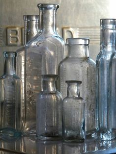 Old Bottles from Homegirl London Colored Glass Bottles, Antique Glass Bottles, Vintage Bottles, Bottles And Jars, Glass Jars, Perfume Bottles, Empty Bottles, Vintage Perfume, Mason Jars