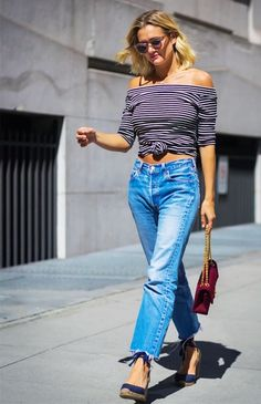 Streetstyle: Striped Top & Navy Wedges by Le Fashion  #BLOGGERS, #Denim, #Moda, #OffTheShoulder, #SPRINGSUMMERINSPIRATION, #StreetStyle, #Stripes, #WEDGES