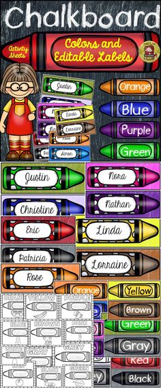 This resource features posters on the key colors, print-n-go activity sheets and editable labels that showcase a crayon color theme.  https://www.teacherspayteachers.com/Product/BACK-TO-SCHOOL-CLASS-DECOR-CHALKBOARD-COLORS-LABELS-NO-PREP-SHEETS-1936797