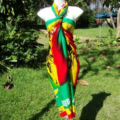 BOB MARLEY PAREO SARONG WRAP RASTA REGGAE BEACH DRESS RAYON USA SELLER
