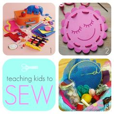 "This week's theme is ""teaching kids to sew"". When I was little, I had one of these... image source This little beauty would sew desig..."