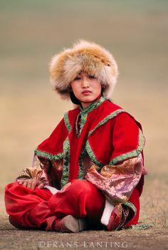 Young woman in native dress, Ulaanbaatar, Mongolia