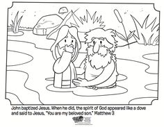 Jesus Is Baptized Bible Coloring Pages Jesus Coloring Pages