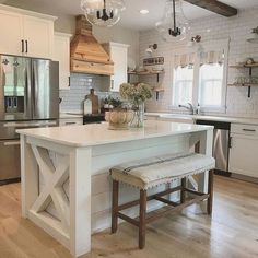farmhouse kitchen island - farmhouse kitchen - farmhouse kitchen decor - farmhouse kitchen cabinets - farmhouse kitchen table - farmhouse kitchen backsplash - farmhouse kitchen on a budget - farmhouse kitchen island - farmhouse kitchen sink Kitchen With Big Island, Farmhouse Kitchen Cabinets, Modern Farmhouse Kitchens, Farmhouse Style Kitchen, Home Kitchens, Vintage Farmhouse, Farmhouse Ideas, Rustic Kitchen Island, Rustic Cabinets