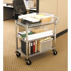 Add supplementary storage and style to your kitchen decor with this Seville Classics heavy-duty utility cart. This stainless steel storage cart is made from sturdy material that's built to sustain rou Adjustable Desk, Adjustable Shelving, Kitchen Cart, Kitchen Storage, Kitchen Decor, Rolling Utility Cart, Printer Stand, Work Station Desk, Storage Cart