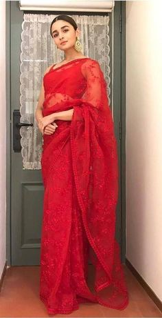 I'm my favorite Red beauty-Alia bhatt in red saree at News 18 Reel Indian Bridal Sarees, Indian Bridal Outfits, Indian Dresses, Indian Clothes, Bridal Dresses, Bridal Lehenga, Bollywood Designer Sarees, Bollywood Saree, Bollywood Fashion