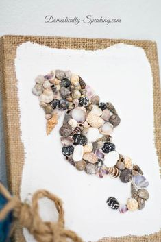 to make this nautical craft DIY Seashell Seahorse Art - a fun project using a burlap canvas and mini seashells to create a seahorse. Seahorse Crafts, Seahorse Art, Seashell Art, Seahorses, Starfish, Beach Crafts, Summer Crafts, Diy And Crafts, Arts And Crafts