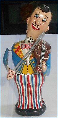 Vintage Line Mar Wind Up Violin Player Tin Litho Toy Japan