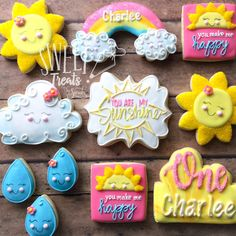 You are my Sunshine Cookies You are my sunshine birthday cookies.You can find Birthday cookies and more on our website.You are my Sunshine Cookies You . Sunshine Birthday Cakes, Sunshine Cupcakes, Sunshine Cookies, Sunshine Cake, First Birthday Party Themes, Girl First Birthday, Boy Birthday Parties, Birthday Ideas, First Birthday Cookies