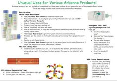 Unusual Uses for Arbonne Products.  http://elizabethcolon.arbonne.com   Arbonne Independent Consultant ID #14938079.   Facebook.com/LibbyColonAIC