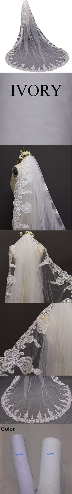 MERMAIDFUN Single Tier Sequins Lace 3 Meters Wedding Veil Long Bridal Veil