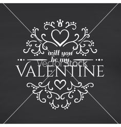 Happy valentines day blackboard background vector typography by OlleVita on VectorStock®
